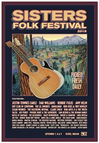 Dennis McGregor's Sisters Folk Fest poster for 2018 was inspired by traditional art used on fruit crates.