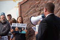 """Bend Mayor Casey Roats speaks to a gathering of more than 100 people at the """"Believe Survivors Rally"""" outside of Bend City Hall on Wednesday, Oct. 3 at 4:30pm."""