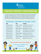 Foster Parent Orientation Dates - Uploaded by Dhs Certifier
