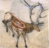 Dancing Elk, resin coated original monoprint - Uploaded by luckey