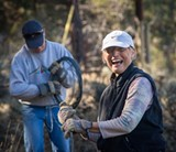 Volunteers help remove fencing to protect wildlife on Land Trust Preserve. - Uploaded by Deschutes Land Trust