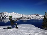 Our presenter taking in the beauty of Crater Lake in the winter! - Uploaded by Woolly Bugger
