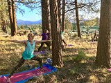 The sun sets on folks doing Tree Yoga at Indian Ford Meadow Preserve. - Uploaded by DeschutesLandTrust1