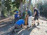 PHOTO BY MOLLY JOHNSON. - Friends of the Central Cascades replacing trail junction signs.