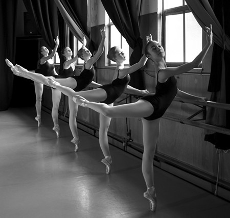 AT THE BARRE Dancers Rachael Louie, Carly Wheaton, Galen Bolard, Julia Biber and Sidney Dimova (L–R) at Marin Ballet. - OLIVER WECXSTEEN