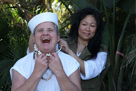 BALI HAI Randy Nazarian as Luther Billis and Lily Tung Crystal as Bloody Mary succumb to the tropic heat in 'South Pacific.'