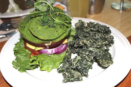 BEIN' GREEN Lydia's hearty Super Burger comes on a buffkin made from ingredients like spinach, kale and parsley. - NICOLAS GRIZZLE