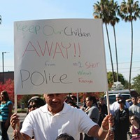 March for Andy Lopez Bruno and Diana Perez at a rally for Andy Lopez, Oct. 25, 2013.