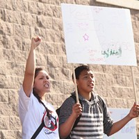 March for Andy Lopez Darlene Arechiga and Andres Beltran at a rally for Andy Lopez, Oct. 25, 2013. Nicolas Grizzle