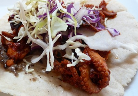 DEL MAR Yes, that's an octopus you see billowing out of that taco. Mmm-mmm. - STETT HOLBROOK
