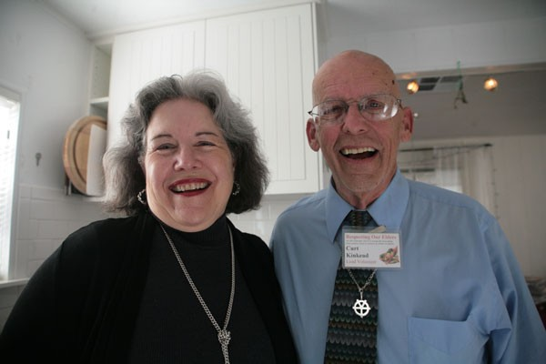 DIRECT SOLUTIONS Ruth Schwartz and Curt Kinkead operate from their mobile home to distribute food seven days a week to Marin's poorer population. - GABE MELINE