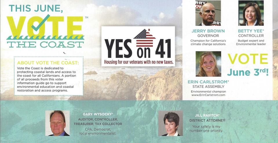 ENDORSEMENT OR AD? All but Gov. Brown paid to be on the Vote the Coast mailer.