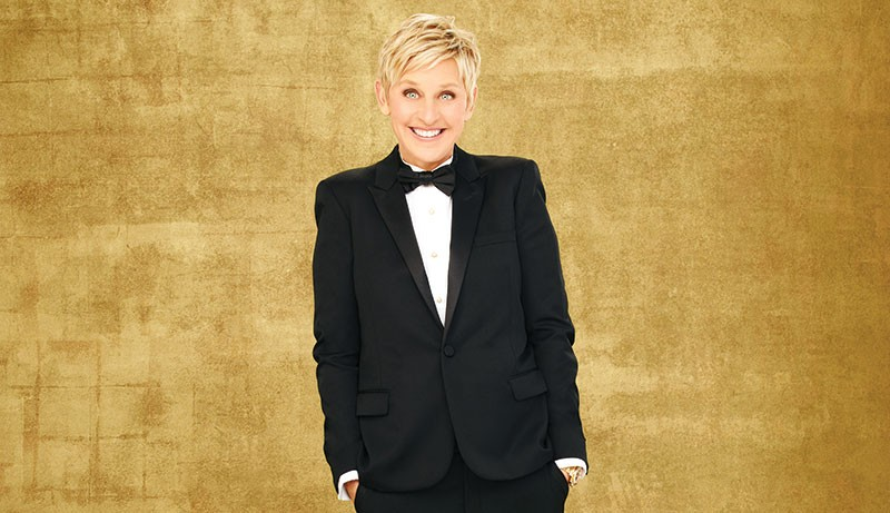 ENVELOPE, PLEASE Ellen DeGeneres is all smiles in her debut as host of the Academy Awards.