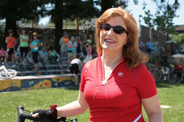 GIRLS, GIRLS, GIRLS Shirlee Zane before a Biker Chicks ride through Sonoma County, where only 25 percent of cyclists are women.