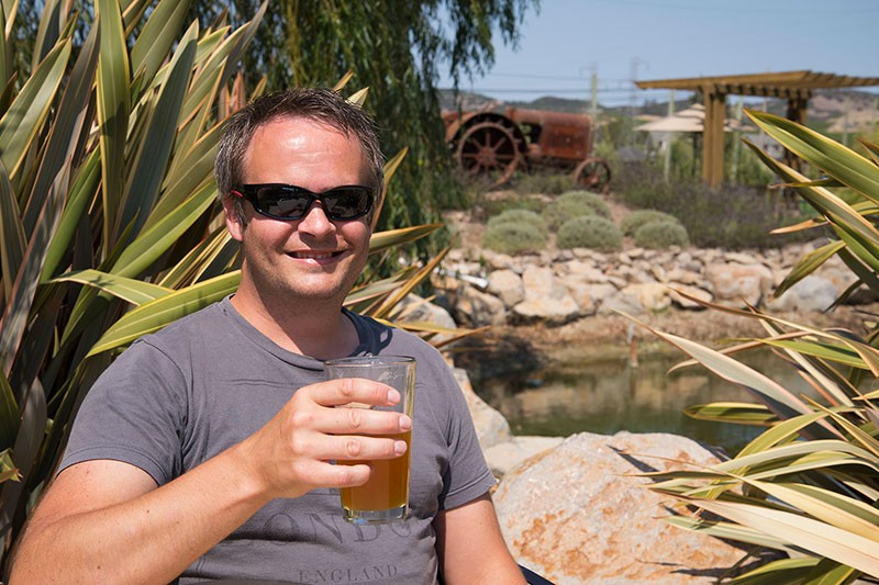 GLOBETROTTER Christer Blom, from Sweden, visits Carneros Brewing Co. - ANNELIESE SCHMIDT
