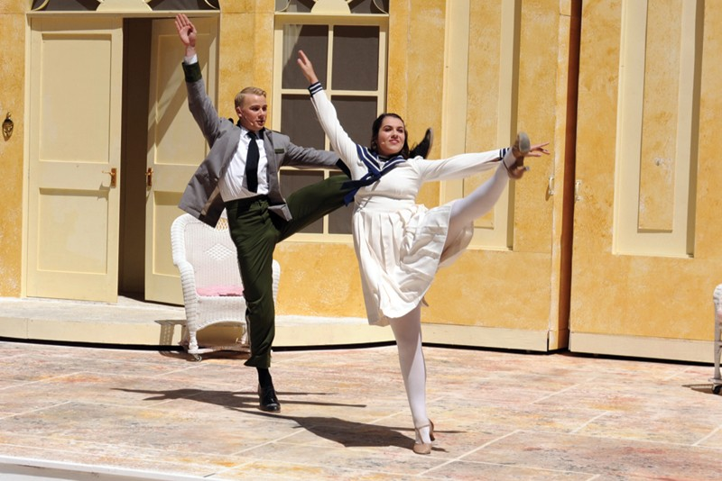 HIGH-KICKING Chas Conacher and Emily Libresco in 'The Sound of Music.' - ROBIN & CHELSEA MCNALLY