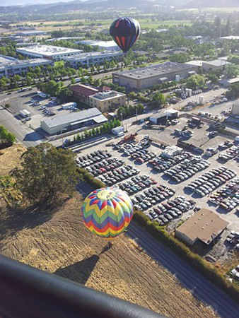 Hovering above a landing site in the Sonoma Star, piloted by Jimmy Long. - NICOLAS GRIZZLE