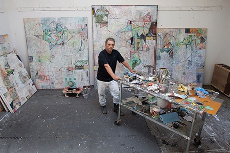 IN THE MOMENT Mark Perlman, who retires this year from SSU with two retrospective shows, pictured in his Sebastopol studio. - MICAEL AMSLER