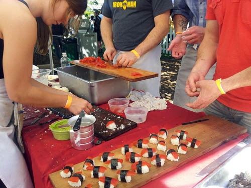 James Corwell and his crew preparing non-traditional sushi in a traditional way.