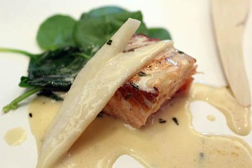 Salmon with pear vinegar cream by John Ash