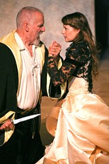 KNIVES OUT Julian Lopze-Morillas as Hieronimo, with Elena Wright as Bellimperia.
