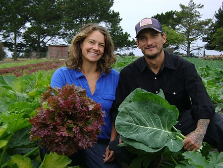LETTUCE SEE YOU SMILE Caymin Ackerman and Joseph Walker specialize in leafy greens at their Big Mesa farm in Bolinas.