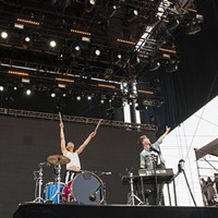 BottleRock Napa Valley 2014 Matt and Kim take the rock star stance during a set that saw them running around and standing on their instruments. Katie Stohlmann
