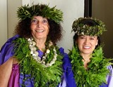 HULA MAI - Mauli Ola Cook (L) and Kumu-Hula Maile Loo (R), guest artists from Hawaii.
