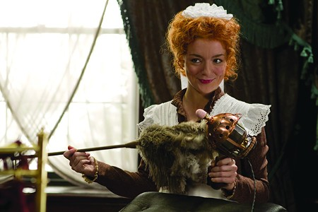 MOTOR RUNNING Sheridan Smith gets frisky with an adapted feather duster.