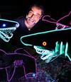 OALL TEETH: Todd Williams with his remote-control predators.