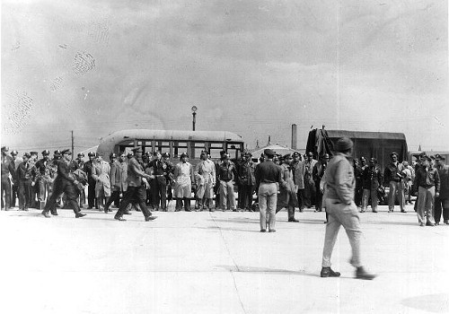Officers of the 477th Bombardment Group at Freeman Field, Indiana.