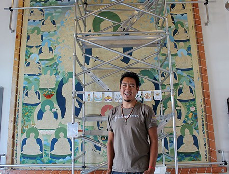 PATIENT PAINTER  Tashi Dhargyal's thangka will hang in a Tibetan monastery when complete. - NICOLAS GRIZZLE