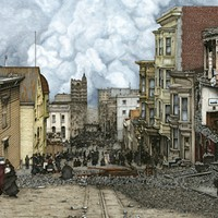 """Ricky Watts, """"Destination Unknown"""" Pen and ink, colored pencil and watercolor on watercolor board, 2012. Ricky Watts"""