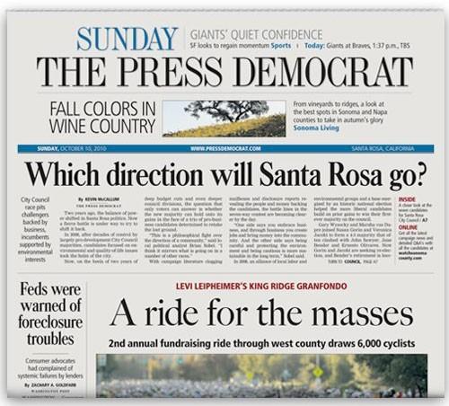 Press Democrat front page