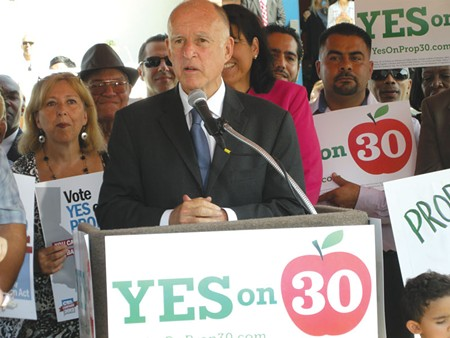 PROP BET Gov. Jerry Brown argues that Proposition 30 is the best way for California to confront the state's staggering deficit and avoid even greater cuts to public education.l