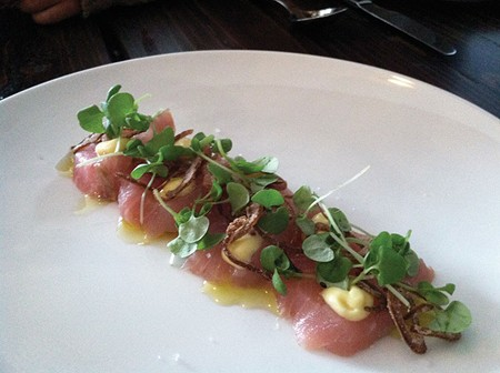 RAW TALENT Seaside Metal's yellowtail crudo with lemon curd is a great starter.