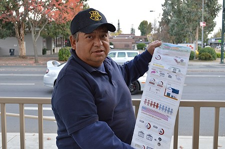 REPORT IN HAND Hector Olvera says vineyard workers sometimes sleep in cars and under bridges for lack of affordable housing in Napa.