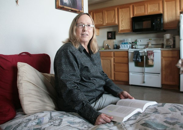 SAFE AT HOME With no available options, Kathleen Burkland lived in a homeless shelter before finally moving up the wait list for a low-income studio apartment in Novato. - GABE MELINE