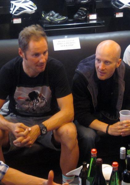 SITTING IT OUT Tom Boonen and Levi Leipheimer at a ToC party in 2012. Boonen, left, is recovering from a crash and isn't riding the ToC this year, while Leipheimer, fresh off suspension, is currently without a team.