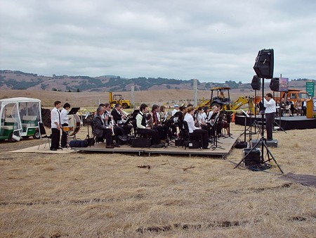 THE BEGINNING The SSU Wind Ensemble performs at the 2001 groundbreaking in the spot where the Green Music Center now stands.