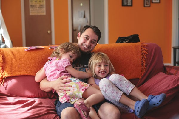 THE PARTY, NOW Stay-at-home dad Scott Morris, with daughters Athena and Veronica, says full-time parenting came naturally. - ELIZABETH SEWARD