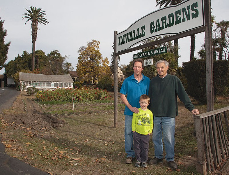 THREE GENERATIONS Charles Imwalle, Kevin Imwalle Hatch and Joe Imwalle III (L–R) at Imwalle Gardens. - MICHAEL AMSLER