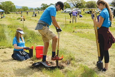 it takes a village The Laguna de Santa Rosa Foundation depends on volunteers for tree planting and trash removal. - JERRY DODRILL