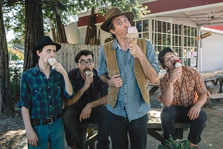 DOUBLE SCOOP Josh Windmiller (second from right) and his band the Crux scream for ice cream at the upcoming Chow Down Hootenanny. - NICK J. PERRY