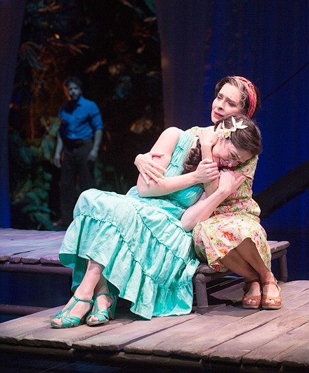 DOWNSTREAM Vilma Silva comforts a lovelorn Nancy Rodriguez in Ashland's production of AlterTheater fairy tale. - JENNY GRAHAM