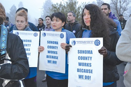 ON THE MARCH  Members of Engineers and Scientists of California union are asking Sonoma County for better pay and help with recruitment and retention.
