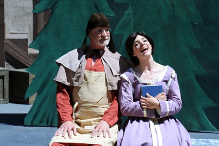 "THE BEAST IN ME Jim Fye as Maurice (Belle's father) and Chelsea Holifield (Belle) anchor a great produciton of ""Beauty and the Beast."" - MCNALLY AND COMPANY PHOTOGRAPHY"