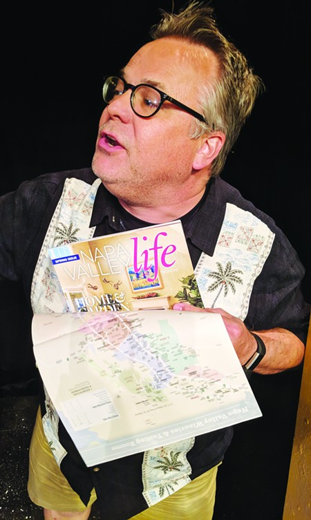 Taking up Room Tim Setzer plays the wine tourist from hell in Lucky Penny's latest production. - HEATHER BUCK