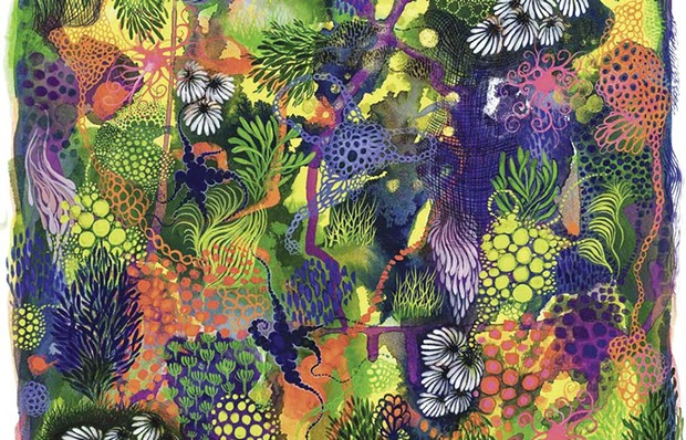 Oakland artist Carrie Lederer's 'Land of Magic 1 (Daisies)' adds loads of color to Marin Museum of Contemporary Art's online exhibit.