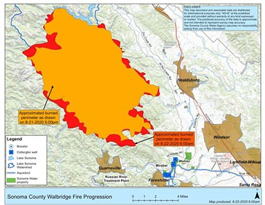 An informational map from the Sonoma County Water Agency shows the overnight changes in the Walbridge Fire. The agency advises residents to rely on maps from CalFIRE for the most recent, accurate information. - SONOMA COUNTY WATER AGENCY